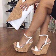 Ankle Strap Platform Line-Style Buckle White Wedge Sandals the world of shoes, offers all kinds of high quality women shoes Strappy Wedge Heels, White Wedge Sandals, White Wedges, Ankle Strap Heels, Ankle Straps, Wedge Shoes, Flat Shoes, Wedge Sandals Outfit, Women's Shoes