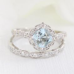 This unique bridal ring set showcases a vintage floral aquamarine engagement ring and matching scalloped diamond wedding band in rose gold. This aquamarine ring set can be made in platinum or rose, yellow or white gold. Floral Engagement Ring, Engagement Ring Settings, Vintage Engagement Rings, Vintage Rings, Vintage Jewelry, Diamond Wedding Rings, Bridal Rings, Diamond Bands, Diamond Engagement Rings