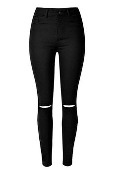 Skinny Jeans With Slashed Knee from mobile - US$25.95 -YOINS