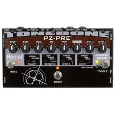 Radial Tonebone PZ-Pre Acoustic Preamp by Radial Engineering. $249.99. The Radial Tonebone PZ-Pre 2-channel instrument preamplifier is a feature-loaded onstage essential! With a 3-band EQ, variable notch filter, and high-pass filter, the Radial Tonebone PZ-Pre helps you kill feedback quickly and easily, and separate piezo boosters on each channel give your pickup-equipped acoustic instrument some genuine punch. Also included are separate pre- and post-EQ DI outs for monitori...