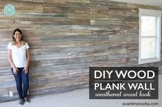Maybe one day: DIY accent wall / untreated x x cedar boards / 3 different lengths, and / Chalk Paint® in Old White, Graphite and Coco to give a weathered wood look Wood Plank Walls, Wood Planks, Wood Wall, Fixer Upper, Rattan, Cute Diy, Pallet Shed, Ceiling Texture, Cedar Planks