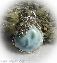 Ice Blue Larimar Wire Wrapped Stone Pendant by superioragates, $35.00