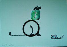 Wat ik maakte van 23-11-2013. Haarspeld,thee lipje,elastiekje: kat en muis.#zwerfie#watikvondvandaag