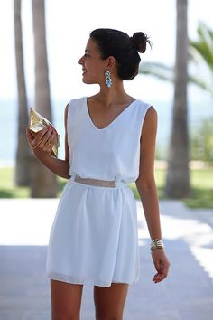 Simple, great design for a honeymoon daytime dress.