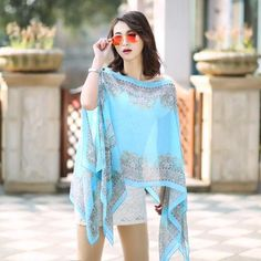 Women Chiffon Sunscreen Scarves High Quality Brand Big Size Printed seaside wear suit for women - My Chen Chebo
