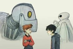 The Iron Giant meets Big Hero 6 Animation Film, Disney Animation, Cute Wallpaper Backgrounds, Cute Wallpapers, Big Hero 6 2, Old Cartoon Network, The Iron Giant, Cartoon Crossovers, Cartoon Shows