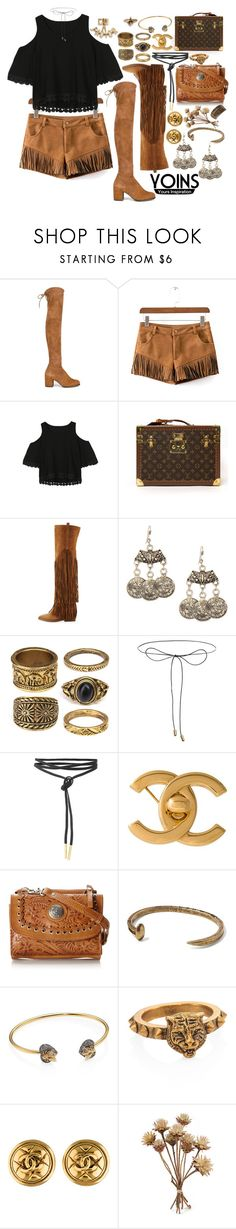 """""""Yoins: summer festival look"""" by styling-w-mabel ❤ liked on Polyvore featuring Stuart Weitzman, Louis Vuitton, Ash, Lilou, Chanel, American West, Banana Republic, Gucci, yoins and yoinscollection"""