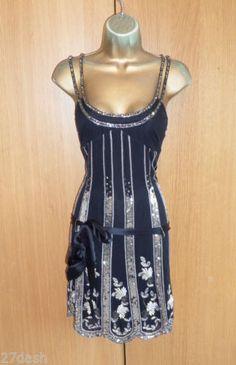 Stunning Karen Millen Black Sequin Flapper Dress UK 10 US 6 Beaded Silk