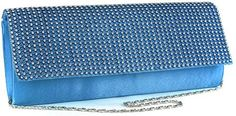 Blue Diamante Encrusted Evening Clutch Bag