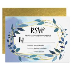 Blue Floral Geometric gold foil RSVP Card - invitations custom unique diy personalize occasions