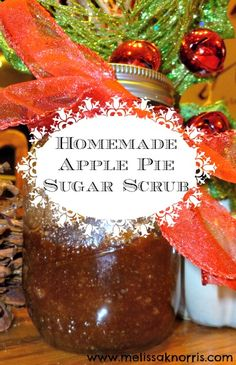 How to make homemade apple pie sugar scrub. Perfect for gifts and all natural ingredients!