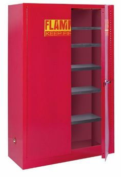 """Sandusky Lee PC60 Red Steel Paint and Ink Storage Cabinet, 60 gallon Capacity, 65"""" Height x 43"""" Width x 18"""" Depth, 5 Shelves by Sandusky Lee. $984.00. Double wall 18 gauge welded steel construction with 11⁄2"""" air space. Dual 2"""" capped vents with flash arrestors for external exhaust. 2"""" high leakproof door sill contains spills. Adjustable leveling feet. Locking handle with 3-point latch. Cabinet includes five 500 lb. capacity galvanized shelves, adjustable on 21⁄2"""" centers..."""
