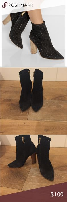 See By Chloé Perforated Suede Black Ankle Boots Beautiful and comfortable ankle boots with chunky heel. Very nice design. Pretty good condition. See photos for condition and the bottom of the boot. See By Chloe Shoes Ankle Boots & Booties