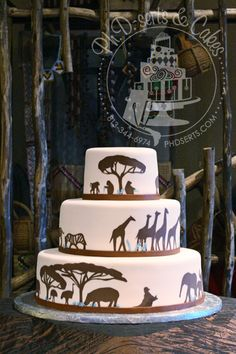 Lauren - Safari Cake - print out pictures of animals and trace onto thinly rolled out fondant