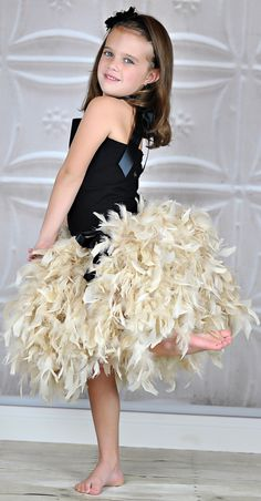 Ivory Wedding Couture Feathered Skirt... super cute@joy14tuck
