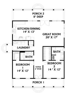 Floor Plans AFLFPW05398 - 1 Story Country Home with 2 Bedrooms, 2 Bathrooms and 1,292 total Square Feet