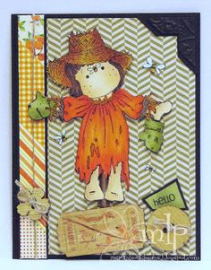 Copic card using the Magnolia - Scarecrow Tilda stamp.  Made by Michelle