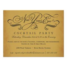 New Years Eve Cocktail Party Vintage Invitations