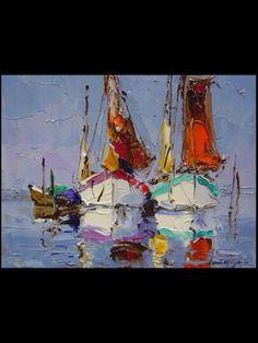 Erich Paulsen Impressionist Paintings, Seascape Paintings, Landscape Paintings, Sailboat Art, Sailboat Painting, Sea Art, Naive, Art Oil, Art Images