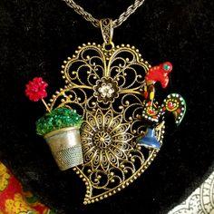 Portuguese inspired folk jewelry necklace heart Coração de Viana pendant made by…