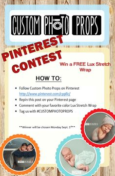 WIN a FREE Lux Stretch Wrap from Custom Photo Props!   -Follow us on Pinterest http://www.pinterest.com/cppllc/ -Repin this Pin -Comment below telling which Lux Stretch Wrap is your favorite https://www.customphotoprops.com/category-s/210.htm -Tag us using the Hashtag #customphotoprops     --Don't forget to Sign up for our Newsletter to get more freebies/discounts https://www.customphotoprops.com/Articles.asp?ID=256 We'll choose a winner on Monday Sept. 1st so make sure to check back!