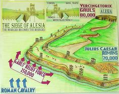 Visual aid I made when teaching about Julius Caesar's Siege of Alesia in Gaul against Vercingetorix.  This was one of my favorite lessons.