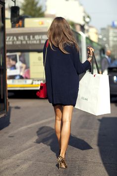 sweaterdress, red bag, celine shopping bag & leopard heels #style #fashion #streetstyle