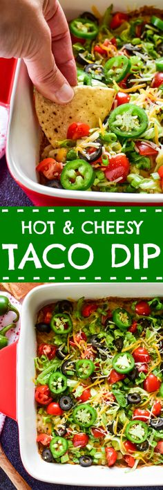 Everyone loves Taco Dip... and this cheesy, baked version is the BEST. It's everything you'd expect of taco dip with a deliciously gooey twist. Guaranteed to be a new game day favorite! Best Dip Recipes, Best Appetizer Recipes, Recipes Appetizers And Snacks, Yummy Appetizers, Mexican Food Recipes, Vegan Recipes, Snack Recipes, Dinner Recipes, Ethnic Recipes
