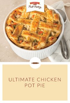 Cold weather calls for a warm, filling meal like our fan favorite, Ultimate Chicken Pot Pie. A light and flaky Puff Pastry crust is what makes this pot pie the ultimate. It's a great way to turn leftover chicken and veggies into a whole new and delicious dinner your family will love.
