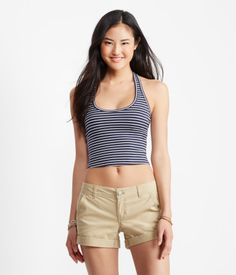 Shop Aeropostale for Guys and Girls Clothing. Browse the latest styles of tops, t shirts, hoodies, jeans, sweaters and more Aeropostale Aeropostale, New Fashion, Womens Fashion, Halter Crop Top, Striped Crop Top, Second Skin, White Tops, Nice Dresses, Casual Shorts