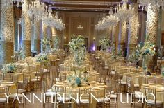 Various table decorations consisting of glass fusion, high centerpieces atop glass vases, and low centerpieces. Event Ideas, Reception Ideas, Reception Decorations, Event Decor, Table Decorations, Drake Hotel, Luxury Wedding Decor, Low Centerpieces, Ceiling Decor