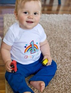 Personalized Rainbow baby first birthday onesie on Etsy, $25.00