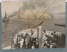 1924 U S NAVY ARMADA IN LINE FORMATION GATHERING FOR DRILL