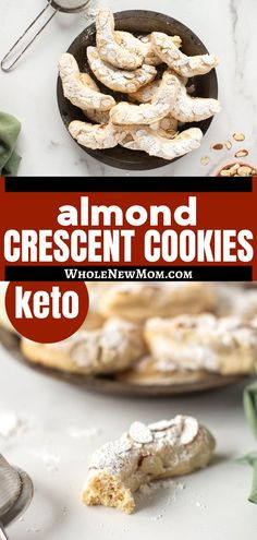 This low-carb almond crescent cookie recipe is a recreation of one of Whole New Mom's childhood favorites, only now grain-free with a dairy-free option. So easy to make and perfect for any time but best with afternoon tea! Yummy Healthy Snacks, Easy Snacks, Easy Healthy Recipes, Whole Food Recipes, Snack Recipes, Paleo Cookies, Low Carb Sweeteners, Dairy Free Options, Vegan Keto