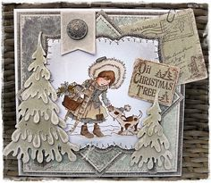 Happy Monday Everyone, Hope the weather's not too bad where you are! It was quite wet & windy here last night and there was a puddle. Dyi Christmas Cards, Handmade Christmas, Christmas Trees, Paper Art, Paper Crafts, Magnolia Stamps, Candy Cards, Winter Cards, Copics