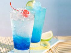 Vodka, blue curacao, and lemonade