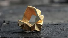 KINETIC - Yellow gold faceted modern geometric 3D printed chunky ring. $110,00, via Etsy.