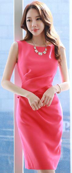 StyleOnme_Feminine Drape Detail Sleeveless Dress #hotpink #dress #sleeveless #springtrend #koreanfashion #kstyle #kfashion #seoul #feminine #elegant #datelook