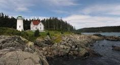 """The Little River Lighthouse of Cutler, Maine, (pictured here,) makes the perfect setting for """"Matthias: The Ghost of Salvation Point. Visit Maine, Little River, Historical Sites, River Island, Traveling By Yourself, To Go, Landscape, Lighthouses, Water"""
