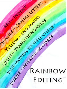 make editing writing fun by teaching rainbow editing, perfect for and grade students Writing Strategies, Editing Writing, Writing Lessons, Writing Resources, Teaching Writing, Writing Activities, Writing Tips, Teaching Ideas, Teaching Strategies