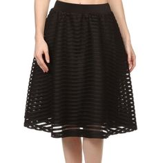 "Full a-line black eyelet skirt •Black skirt •Full style •A-line •Fully lined •Eyelet overlay •High waisted •Elastic waist •Stretchy •Polyester S(W:12.25"", L:23"") M(W:13.5"", L:24"") L(W:14.5"", L:24"") angelmueller Skirts A-Line or Full"