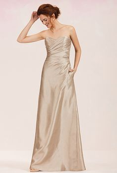 Jasmine. Simple dupioni bridesmaid dress with sweetheart neckline, ruched bodice, keyhole back and flattering A-line skirt.