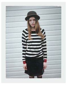 black and white stripes, bowler hat. (Paul by Paul Smith)