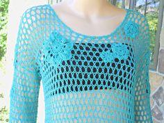 Sea Glass Handmade Crochet Lace Sweater by CasadeAngelaCrochet