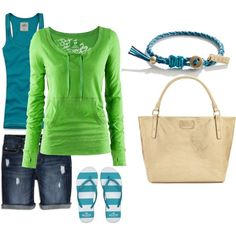 blue and green wear