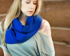 Royal Blue Infinity Scarf Lightweight Cotton by ForgottenCotton
