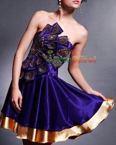 Tiffany - bridesmaid-dress-peacock-tube-top-knee-length-pleated