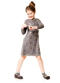 Big dots, bright stripes, cats, dogs and elk all have a place in Deux Par Deux's exuberant collection for fall 2014. On the quieter side, a lovely gray knit dress with a field of metallic daisies. www.deuxpardeux.com (editor's pick)