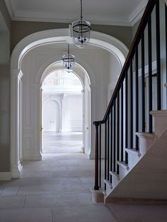 A Regency Manor House - Ben Pentreath Ltd Modern Georgian, Georgian Style Homes, Foyer Staircase, Stairs, Staircases, Georgian Interiors, Flagstone Flooring, Plafond Design, English Decor