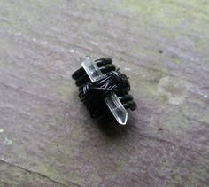 Dread Bead Crystal Raw Quartz Bead Black by HeatherfishCreations